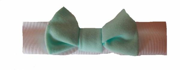 premature baby clothes headband MINT and WHITE