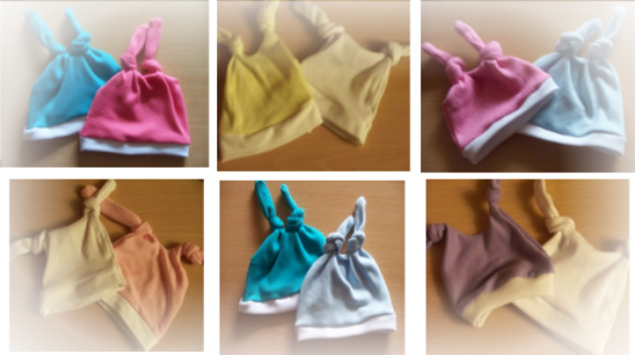 colourful premature baby clothing pack 2 double knot hats any size shade
